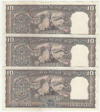"""Gandhi Issue """"Set of 3"""" Consecutive India 10/- B.N.Adarkar 1969-70, P69b in AUNC"""