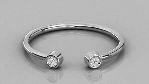 Colorless White Two Bezel Set Round Moissanite Anniversary 10K White Gold Ring