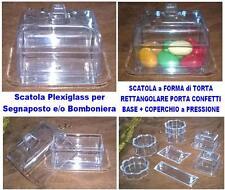 N.10 SCATOLA PLEXIGLASS a TORTA-TORTINA con COPERCHIO Cm.8x9 BOMBONIERA CONFETTI
