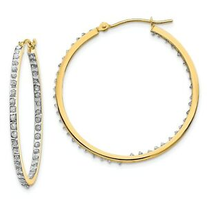 14k Yellow Gold Diamond Large 36mm Hinged Round In & Out Hoop Earrings 0.01 Ct.