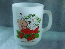 RARE Fire King Strawberry Shortcake Custard & Pupcake Milk Glass Mug Nostalgia