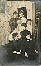 """The """"Old"""" Sorority Girls, Before Cleo, Betty Etc, Monmouth College, IL RPPC 1908"""