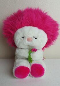 "1982 Dakin Frou Frou plush hot pink magenta 12"" guc clean cute holding flower"