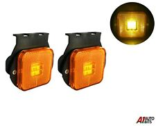 "2x 2.55"" 4 Led Side Marker Indicator For Lights Truck Trailers Amber Lamps 24v"