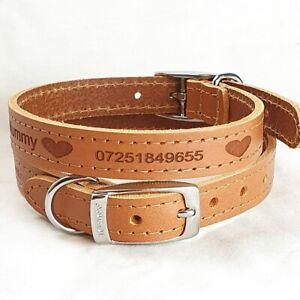 Personalised Custom Leather Dog Collar puppy Designer style Id Call my Mummy