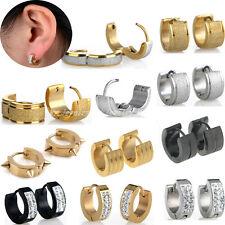 2PCs Men Women Cuff Huggie Hoop Earrings Surgical Stainless Steel Crystal Studs