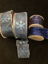 Wrapping Ribbons Set of 4 Gifts Bows Blue Stars Party Supply