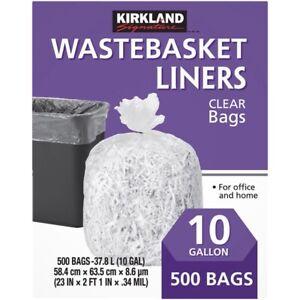 Kirkland Signature Clear Wastebasket Liners, 500 x 10 gal
