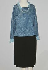 JUS D'ORANGE PARIS Size M (Unmarked) Blue Sequins Long Sleeve Ruffles Blouse
