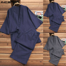 2Pcs Mens Womens Vintage Kimono Style Pyjamas Robe Shirts + Pants Loungwear Set