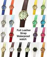 Classic WATERPROOF Gold Watch Unisex Round Chic Leather Strap Retro Large Mondex
