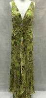Womens Official Size 10 Green Embelished and Embriodered 100% Silk Dress Event