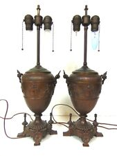 PR OF ANTIQUE FRENCH VICTORIAN ART NOUVEAU STYLE BRONZE ? LAMPS W/ CHERUBS