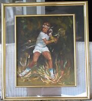 Tennis Oil-Bjorn Borg's Backhand-1970's-By Roy Pierce-Signed-Great Quality