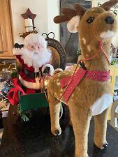 Santa's Best 2 pcs Animated Lighted Santa in Sleigh & Reindeer