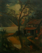 A. RUSHTON - Vintage Folk Art Oil Painting - Framed - Canada - Mid 20th Century