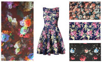 """Midnight Floral Bodycon Scuba Jersey Stretch Fabric Material 160cm (60"""") Wide"""