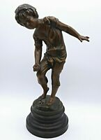 French Antique Bronzed Spelter Sculpture Statue, Boy Playing Marbles by A Moreau