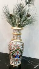 Beautiful Hand Carved Painted Peacock Print Shiny Colourful Marble Vase