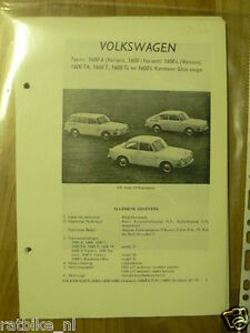 V26-VOLKSWAGEN 1600 MODELLEN, L,TA,T,TL,L,VARIANT,KARMA GHIA 1970 MODELS