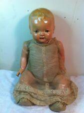 Vtg Madame Baby Hendren Sleepy Eye Doll teeth composition face arms legs squeak