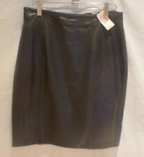7dfdb4fc3a Lord & Taylor Black Leather Zip Up Knee Length Skirt Size Petite 10 New