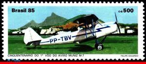 2031 BRAZIL 1985 MUNIZ M-7 INAUGURAL FLIGH, 50 YEARS., AVIATION, RHM C-1491, MNH