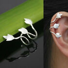 2 Pcs Trendy Non Piercing Silver Plated Leaf Clip On Ear Cuff Earring Wrap Punk