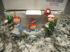 3 Danbury Mint Raggedy Ann and Andy Glitter Ornament