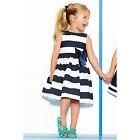 Princess Kids Girls One Piece Dress Blue Striped Bowknot Skirts Tutu Dress 1-5T