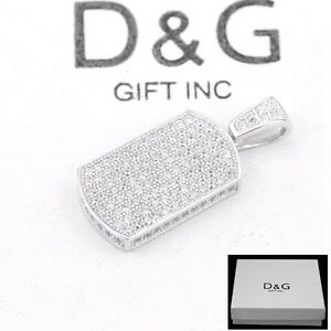 DG Men's 925 Sterling Silver 28mm DOG TAG CZ Mini Pendant*Unisex + BOX