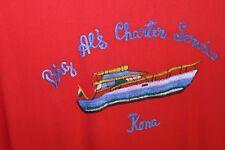 "VTG 1970s Hawaiian Rayon Shirt ""Big Al's Charters"" Embroidered Island Breezy M/L"