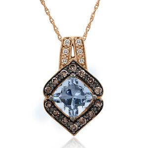 LeVian 14K Rose Gold Aquamarine Round Brown Chocolate Diamond Pendant Necklace