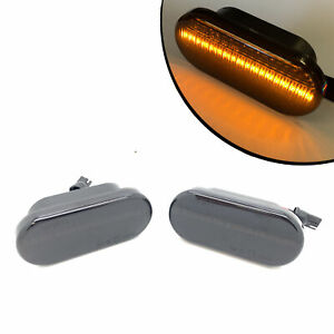 Smoked black dynamic LED side repaters blinkers indicators for VW Seat Ford