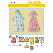 Simplicity SEWING PATTERN 1447 Babies Romper,Dress,Top,Panties,Hats XXS-L