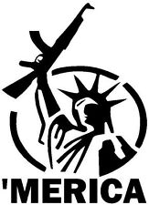 'MERICA VINYL DECAL CAR WINDOW BUMPER STICKER STATUE OF LIBERTY USA GUN RIGHTS