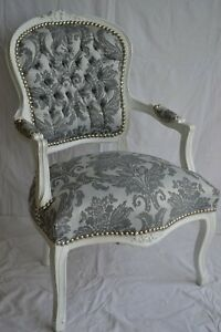 LOUIS XV ARM CHAIR FRENCH STYLE CHAIR VINTAGE GREY AND WHITE
