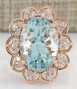 8.29 Carat Natural Aquamarine 14K Rose Gold Diamond Ring