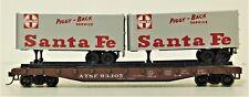 Athearn HO Scale Kit 1405 Santa Fe 50' Piggyback Flat Car 2 Vans Silver Vintage