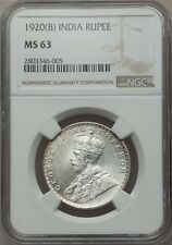 INDIA BRITISH  GEORGE V 1920-(B) 1 RUPEE SILVER COIN, CERTIFIED NGC MS63