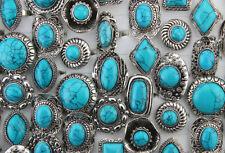 Wholesale Bulk Lots 50pcs Women Jewelry Big Blue Natural Stone Adjustable Rings