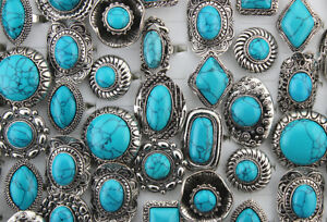 Wholesale Bulk Lots 50pcs Women Jewelry Big Blue Natural Stone Adjustable Rings