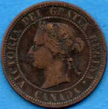 Canada 1876 H 1 Cent One Large Cent Coin - Very Fine