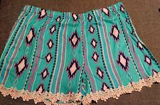 Womens Plus Size Shorts Aztec Mint Lace Trim Southwestern Size large