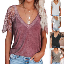 Summer Womens Casual Solid Blouse Lace Short Sleeve V Neck T Shirt Loose Top Tee