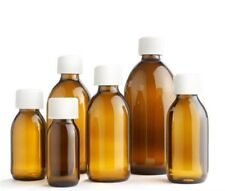 40 x 200 ml AMBER GLASS BOTTLES SYRUP COSMETIC AROMATHERAPY PHARMACEUTICAL..