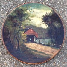 1870s - 1880s FRANK HENRY SHAPLEIGH OIL PAINTING, COVERED BRIDGE, CORNISH, ME