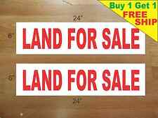 "LAND FOR SALE 6""x24"" REAL ESTATE RIDER SIGNS Buy 1 Get 1 FREE 2 Sided Plastic"