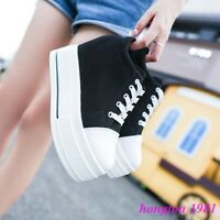 Fashion Women Canvas Platform Hidden Wedge heels Lace-up Creepers Sneakers Shoes