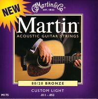 Martin M175 Acoustic Guitar Strings 80/20 Bronze Custom Light Gauge .011 - .052
